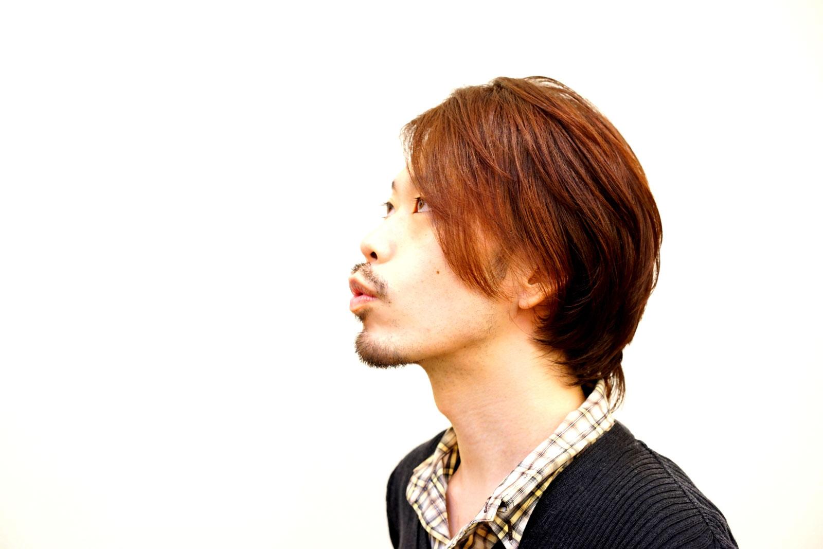 【オレ】のナチュラルアプリコットの流れる前髪とHIGE
