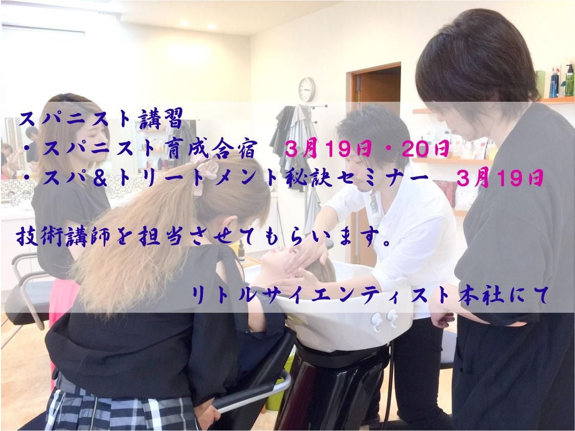 3月19日・20日のヘッドスパ合宿と秘訣セミナー【お知らせ】