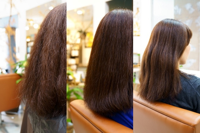 髪質改善トリートメントのビフォー・アフター&ビフォー2